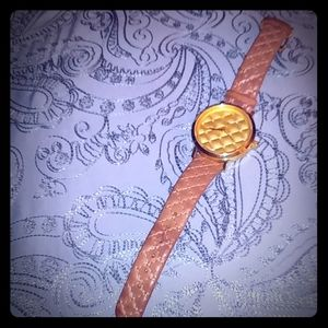 Jewel, gold toned genuine leather watch